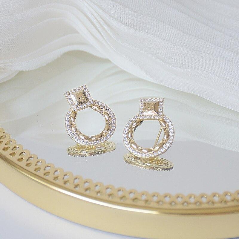 14k or réel exquis cercle CZ femmes boucles d'oreilles haute qualité charme Mircro incrusté AAA zircone boucle d'oreille cadeau d'anniversaire 3
