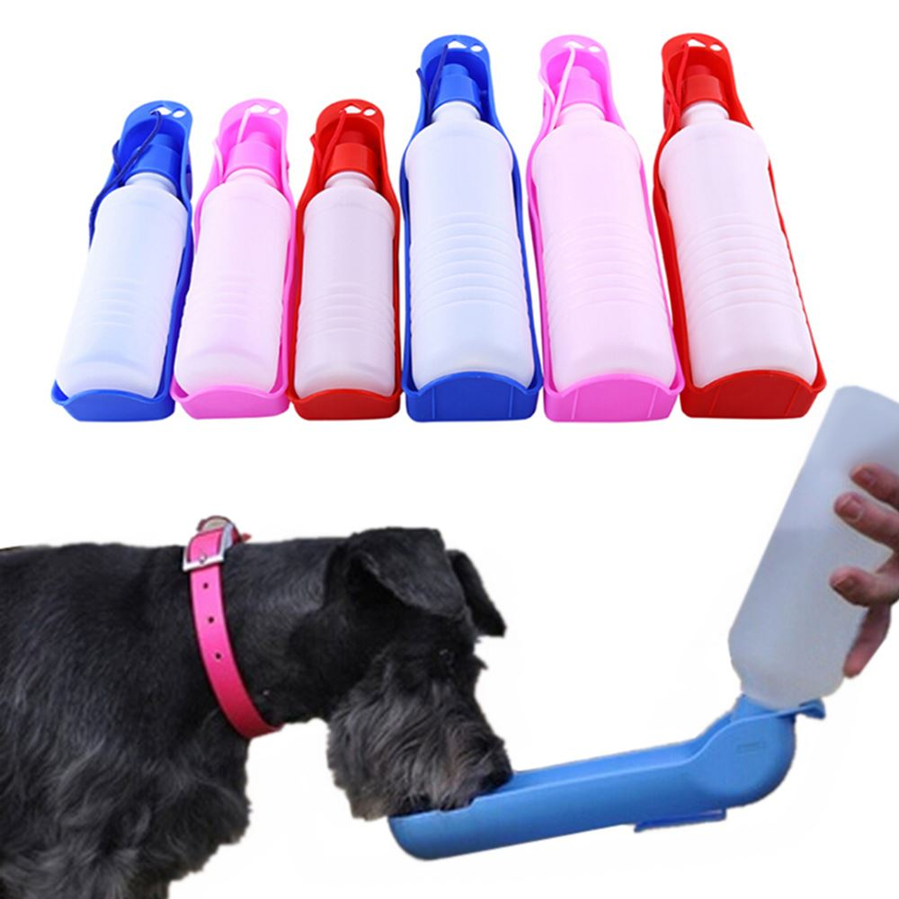 250ML/500ML Dog Water Bottle Portable Plastic Pet Dot Feeder Food Container Outdoor Walking Travel Pet Drinking Water Feeder