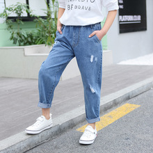 Girls Jeans Spring 2019 Cotton Stretchy Soft Denim Pants Ripped Jeans for Kids Hole Out Kids Trousers Girls Clothing