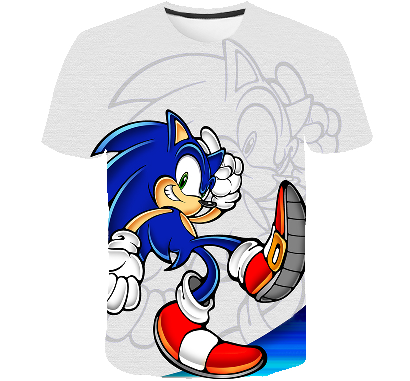 Детская летняя футболка с короткими рукавами, футболка с изображением мультипликационных персонажей для детей Sonic зубная щётка 3D печатных ...