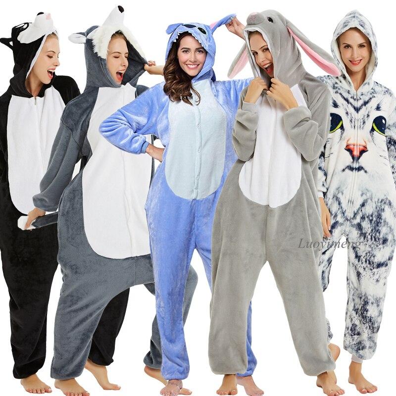 Stitch Onesie Adults Animal Pajamas Flannel Panda Pyjamas For Women Unicorn Nightie Unicornio Sleepwear Kugurumi Pajama Overalls