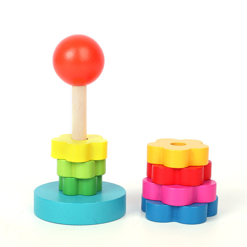 Toys For Baby Stacking Toy Wood Natural Learning Education Kids Baby Stacking Stack Up Play Tower Ring Toy Rainbow Wooden Gift