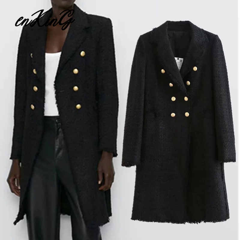 2019 Winter Wollen Overjas Engeland Office Lady Goud Double Breasted Lange Blazers Notched Zwarte Lange Jas Wollen Overjas