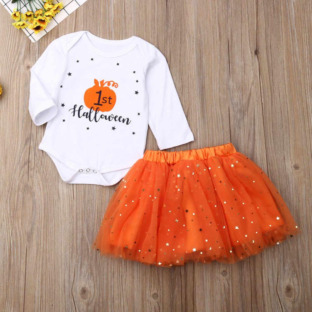 Bebê Recém-nascido Menina infantil Primeiro Dia Das Bruxas Abóbora Romper + Saia TuTu Outfits Set