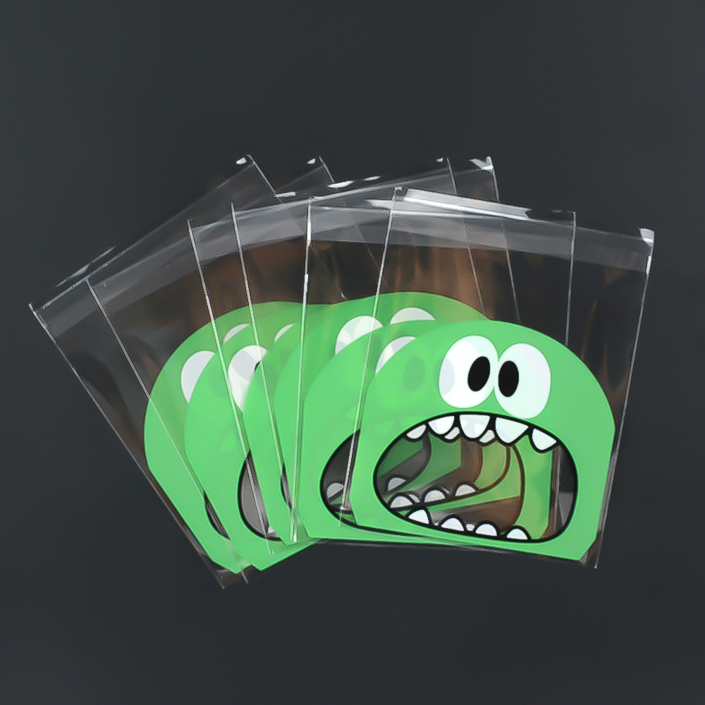 Image 2 - 100pcs/Lots Baking Package Cartoon Big Mouth Monster Self Sealing Bag  Candy Chocolate Gift Packaging Party Supplies-in Gift Bags & Wrapping Supplies from Home & Garden