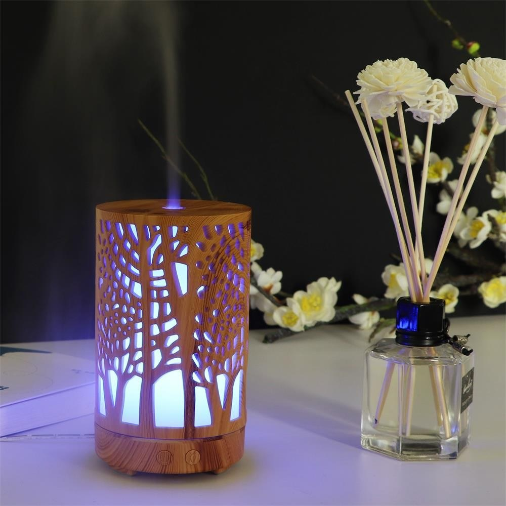 Colorful Wood Grain Openwork Ultrasound Aroma Diffuser Household Ultrasound Humidifier 100ml Essential Oil Aromatherapy Machine