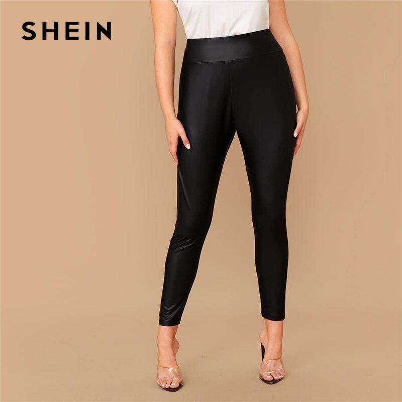SHEIN Plus Size Elastic Waist Leather Look Cropped Leggings Women Spring Autumn Plus Black Slim Fit Casual Leggings