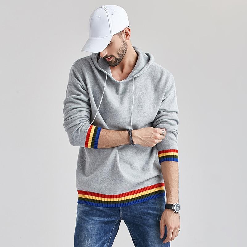 Aliksada 2020 Men's Autumn New Casual Cotton Outwear Hat Sweaters Hoodies Pullovers Men Fashion Classic Striped Sweater Coat Men 5