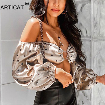 Articat Polka Dot Off Shoulder Crop Top Women Tshirts Vintage Long Sleeve Strapless Short T-shirt Casual Party Christmas Shirt