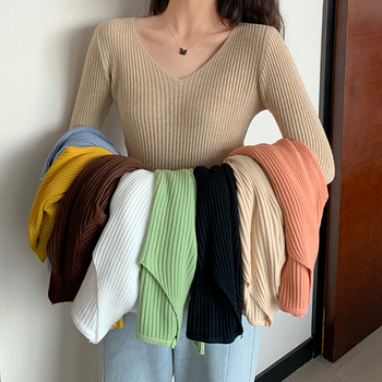2021 Basic B-neck Solid Autumn Winter Pullover Women Female Knitted Ribbed Sweater Slim Long Sleeve Badycon High Quality Sweater