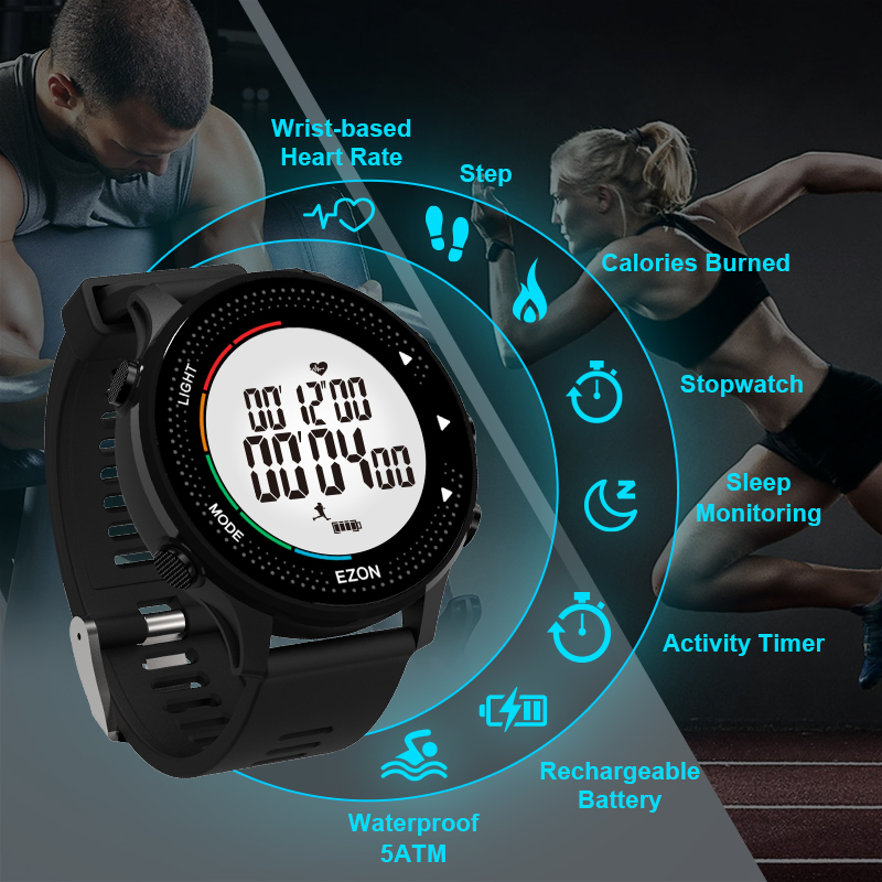 Digital Activity Tracking Watch With Heart Rate Monitor Pedometer Stopwatch Timer Waterproof 50M For Outdoor Sport Running