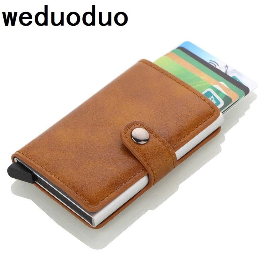 New Credit Card Holder Wallet Men Women Metal RFID Vintage Aluminium Bag Crazy Horse PU Leather Bank Cardholder Case