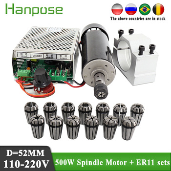 0.5kw clamps Air cooled Air cooled spindle ER11 chuck CNC 500W Spindle Motor + Power Supply speed governor cnc air cooled brushless spindle dc motor 500w er11 220v with speed governor controller