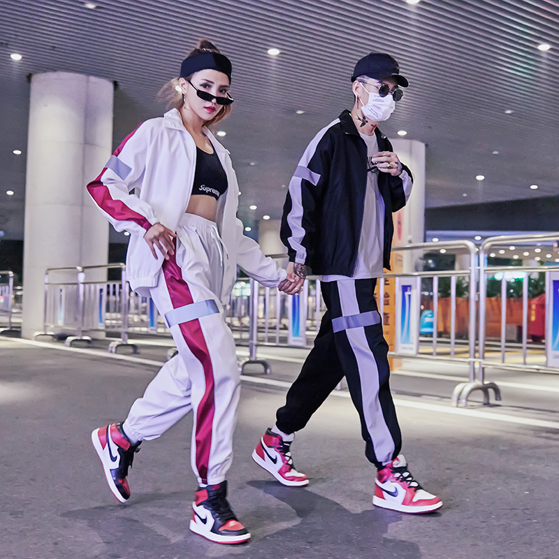 Europe And America Athletic Pants 3m Reflective Set Jacket Popular Brand Hip Hop Couple Clothes INS Street Snap Ankle Banded Pan