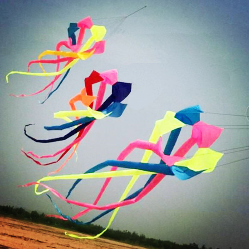 6m arc-en-ciel chaussette à vent cerf-volant surf ripstop nylon cerf-volant pendentif connecté ligne cerf-volant queue sports de plein air outils de vol
