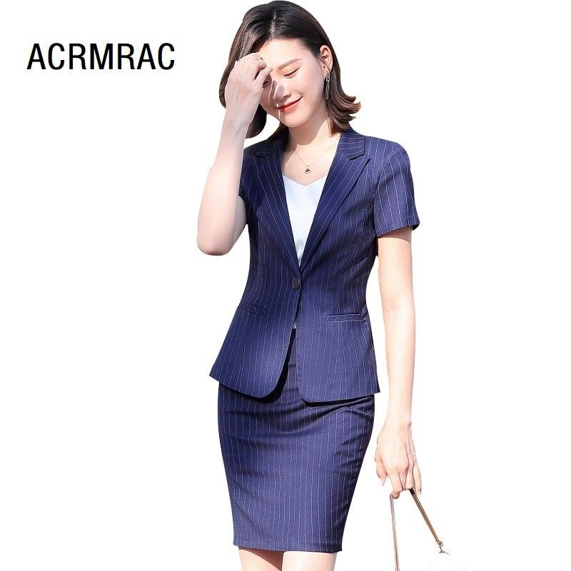 Women Suits Summer Short Sleeve Stripe Blazers Skirt Office Lady Formal Work Clothes Women Skirt Suits Woman Set Suits 9106