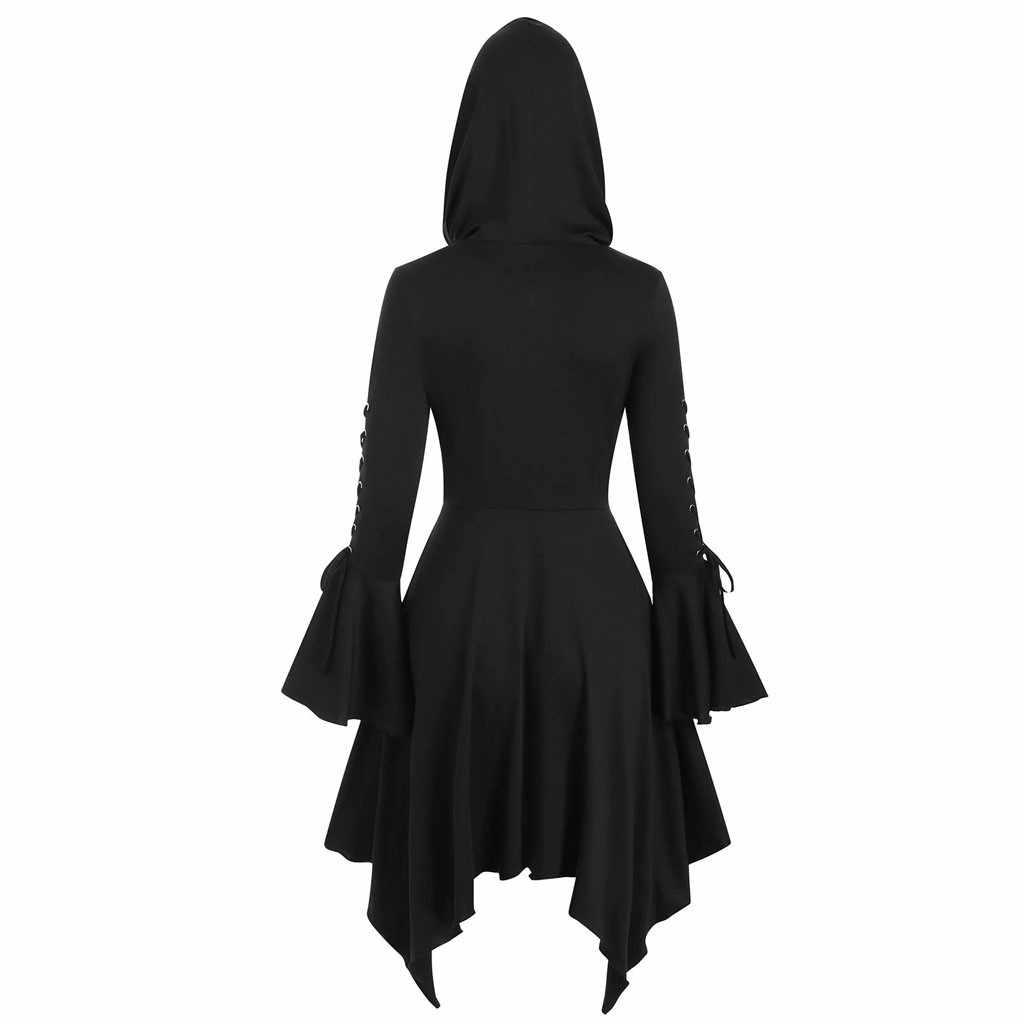 패션 여성 슬림 스커트 고딕 코트 캐주얼 불규칙한 버튼 아웃웨어 steampunk 레이스 후드 코트 자켓 여성 롱 코트