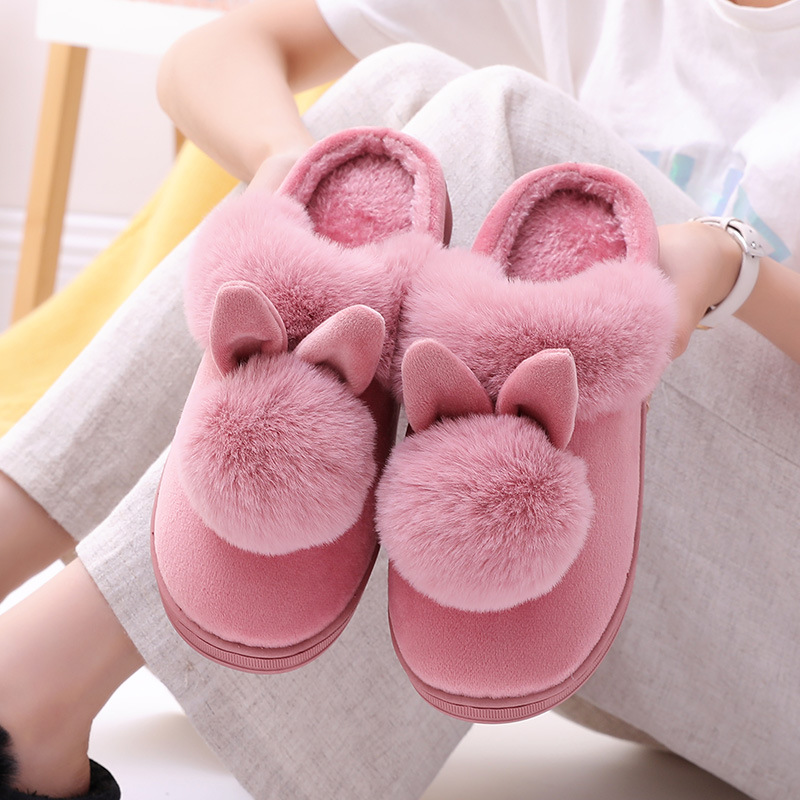 Cartoon Women Home Slippers Rabbit Ears Slip On Soft Soled Winter Warm House Shoes Women Indoor Outdoor Fur Slippers Footwear image