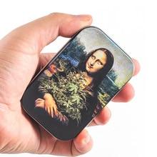 Mona Lisa Print Hold 20pcs Cigarette Metal Case Cover Man Women Portable Pocket