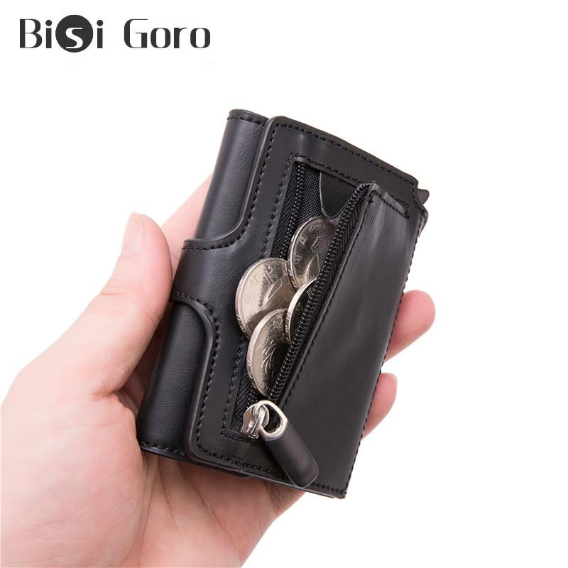 BISI GORO 2020 Top Quality Men Smart Wallet Fashion Button Money Bag Metal Aluminum Auto Pop-up RFID Travel Wallet Coin Purse