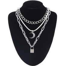 Layer moon pendant necklace fashion chains necklace lock gothic neck chains for women female chocker neck goth jewelry