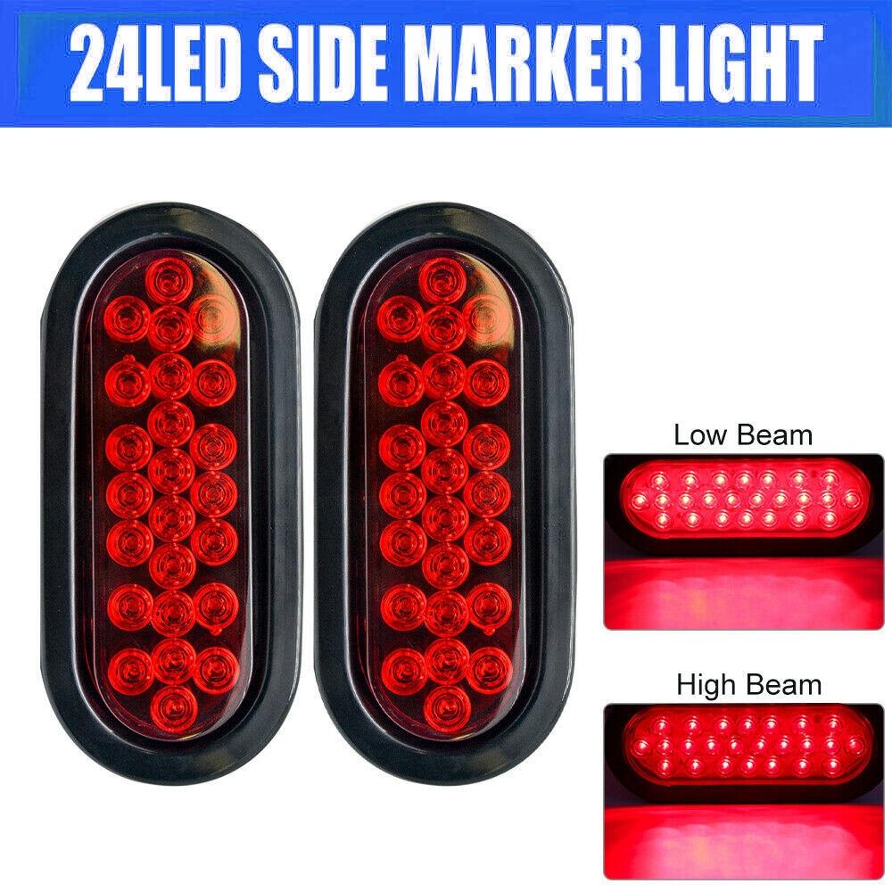 2pcs 12V 24 Led Oval Truck Trailer Stop Turn Tail Brake Light Side Marker Lamp Trailer Truck Lamp Red Kit Set