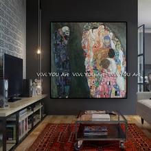 Большой размер рукодельный рисунок на холсте домашний декор Густава Климта живопись Современная картина маслом квардро настенные картины для гостиной