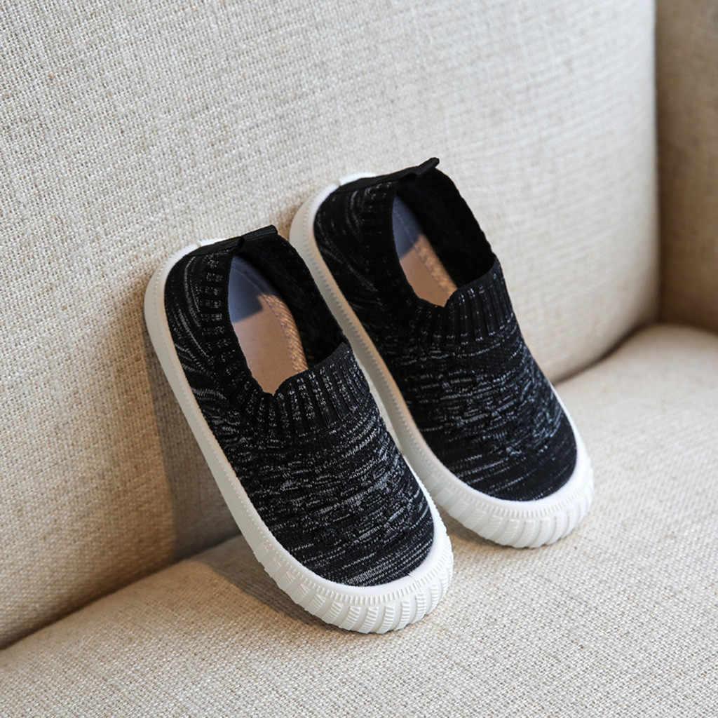 Peuter Baby Kinderen Meisjes Jongens Bling Comfort Effen Mesh Ademend Slip Op Loafers Schoenen Anti-slip Zachte Sneakers Kinderen schoenen