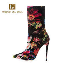 KATELVADI Women Print Ankle Winter Boots Flock Stretch 5Inches High Heels Pointed Toe Night Club Shoes  K-569