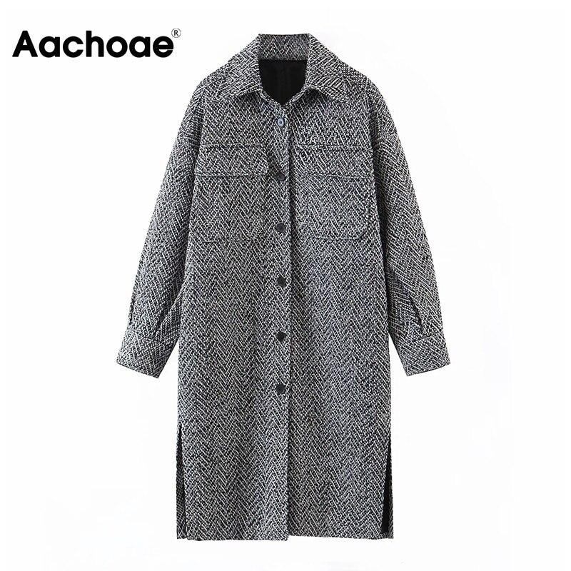 Aachoae Vintage Winter Long Sleeve Wool Coat Women Turn Down Collar Long Shirt Jacket Side Split Pockets Casual Ladies Outerwear Wool & Blends  - AliExpress