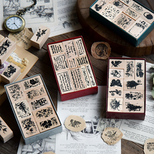 Yoofun Vintage Plants Letters Space Chinese Characters Garden DIY Wooden Rubber Stamp Scrapbooking Bullet Journaling Stamp Set