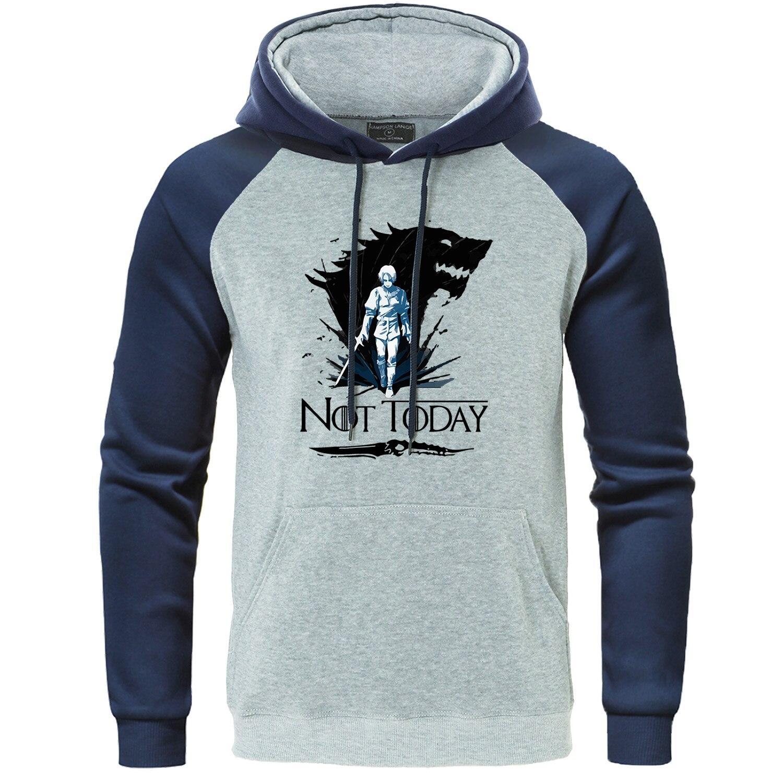 Not Today Hoodie Arya Stark House Stark Raglan Sweatshirt Winter Is Coming Streetwear Mens Tracksuit Game Of Thrones Pullover