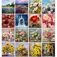 Pintura al óleo por números flor sobre lienzo con marco hecho a mano pinturas de dibujo para adultos colorear por número imagen decoración del hogar arte undefined Hint Digital Tool Coloridos accesorios modernos de
