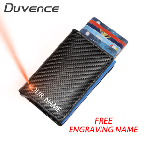 Duvence Free Engraving Name Men Credit Card Holder Carbon Fiber Women Card Wallet Small Rfid Blocking Male Purse ID Card Wallet(China)