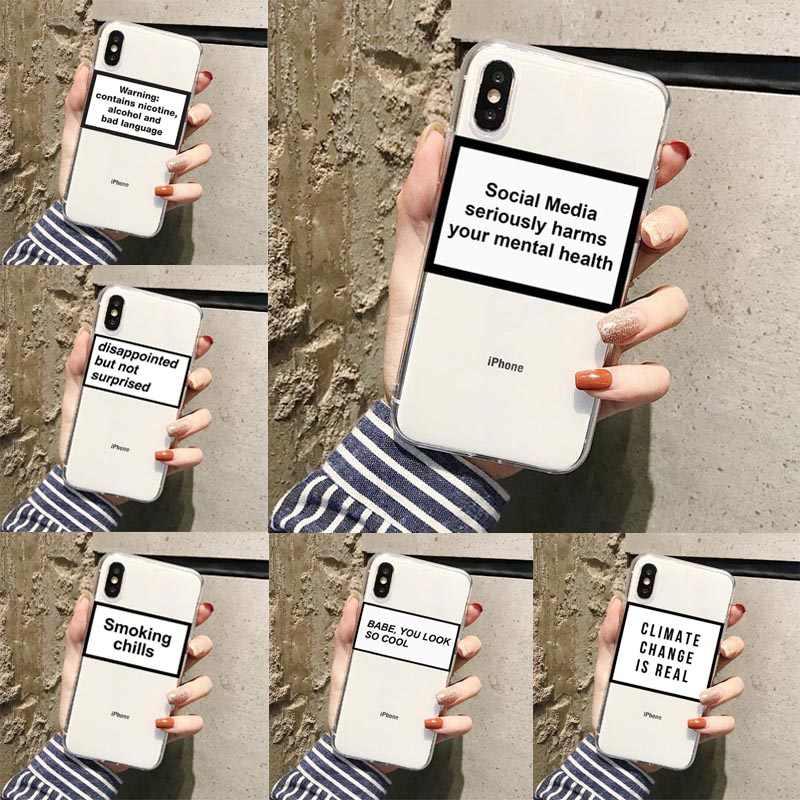 Cho Iphone XR X XS Max 7 8 6S Piô iPhone 11 Pro Max Phương Tiện Truyền Thông Xã Hội Nghiêm Trọng Gây Hại Của Bạn Tinh Thần sức Khỏe Trong Suốt Mềm Mại Ốp Lưng Trong Suốt