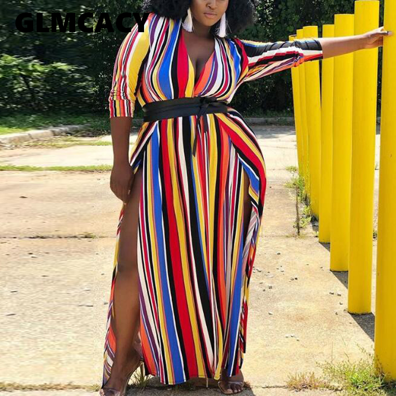 Plus Size 5XL Women Colorful Striped <font><b>Maxi</b></font> <font><b>Dress</b></font> Loose V Neck <font><b>High</b></font> <font><b>Slit</b></font> Casual <font><b>Dress</b></font> Oversized <font><b>Sexy</b></font> Party <font><b>Dress</b></font> image
