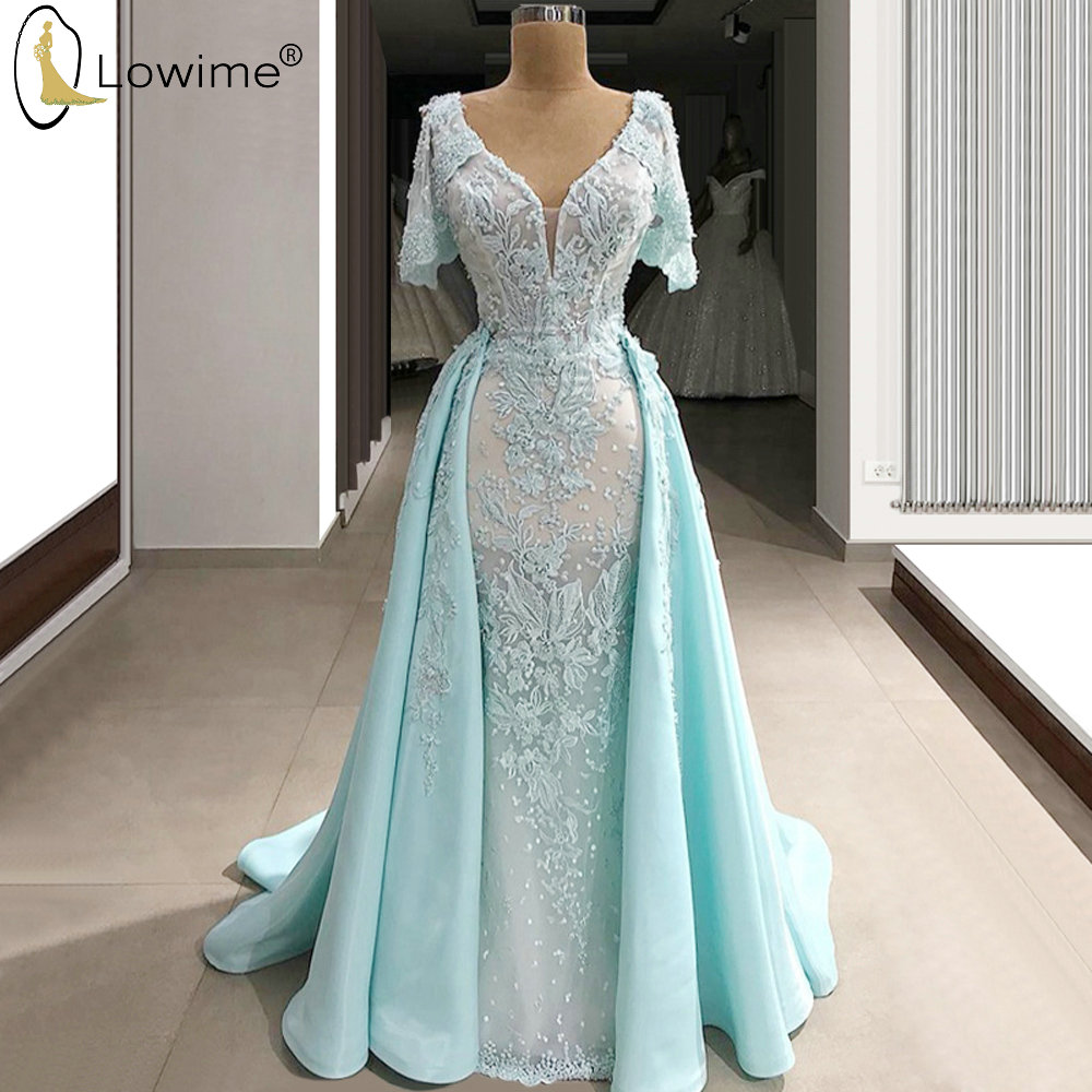 Elegant Light Sky Blue Evening Dresses With Removeable Train Mermaid Applique Lace Formal Dress Robe De Soiree Prom Party Dress