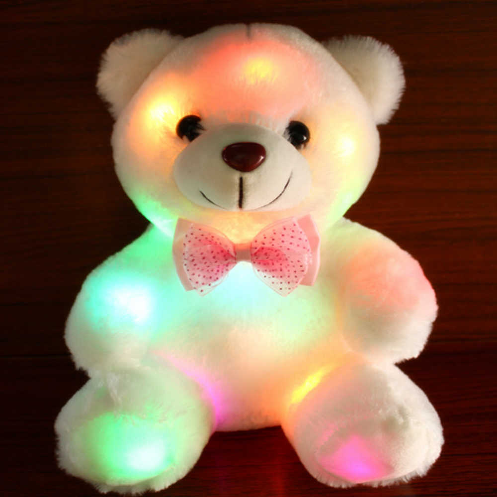 Night Light Teddy Bear Plush Stuffed Lovely Holiday Soft Doll Baby Toy Kids Gift