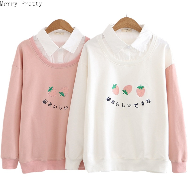 Women's Harajuku Cute Hoodies Sweatshirt Strawberry Embroidery Turndown Collar Tracksuit 2020 Spring Long Sleeve Pullovers
