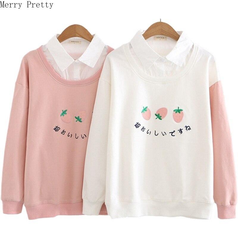 Women's Harajuku Cute Hoodies Sweatshirt Strawberry Embroidery Turndown Collar Tracksuit 2020 Spring Long Sleeve Pullovers