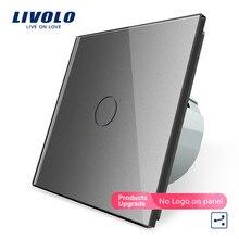 Livolo EU มาตรฐาน 2 WAY TOUCH Control Switch,7 สีแผงคริสตัลแก้วคริสตัล 220 250 V,CROSS,ผ่านสวิทช์
