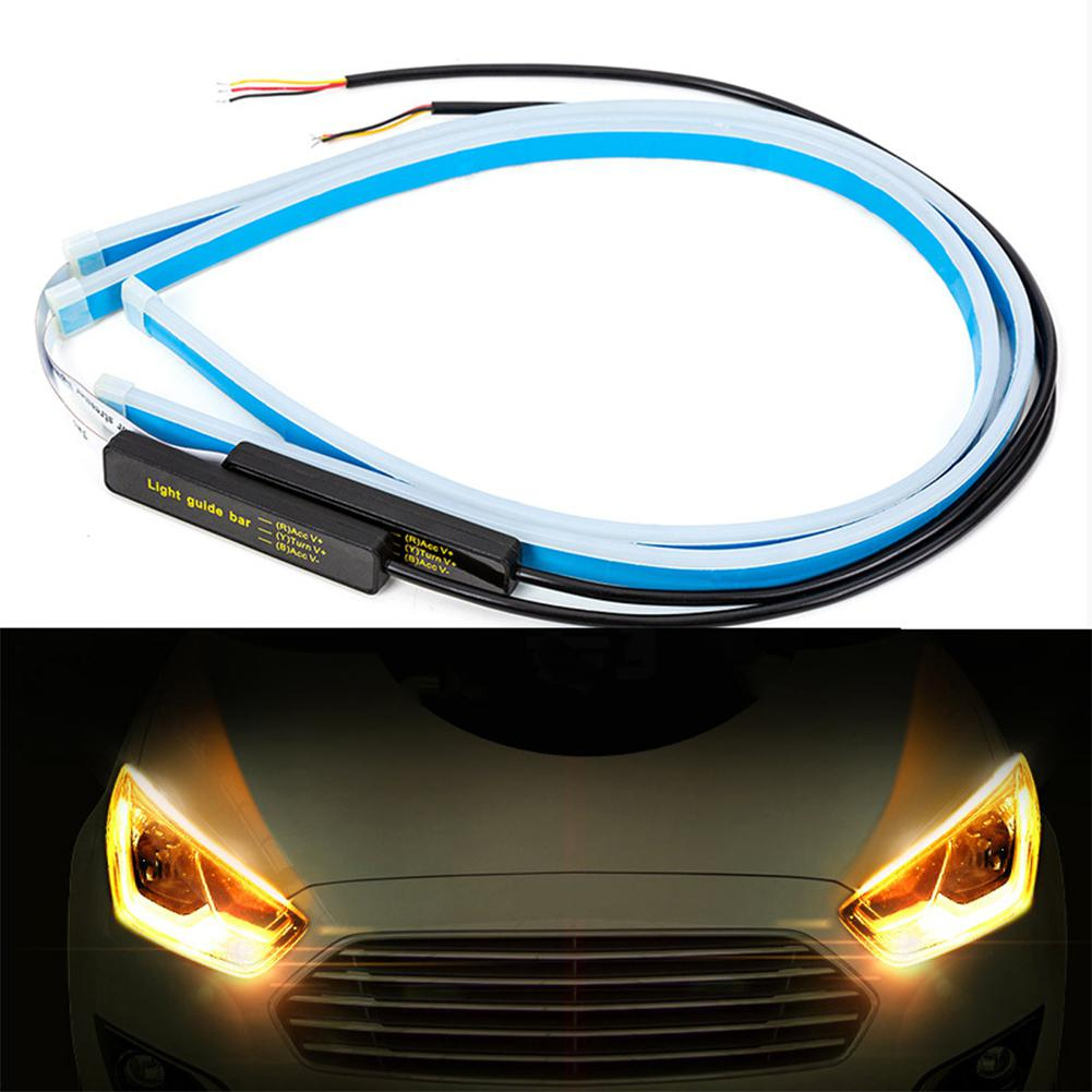 2PCS Ultrafine Cars LED DRL Daytime Running Lights White Turn Signal Yellow Guide Strip For Headlight Assembly Automobile Lamp