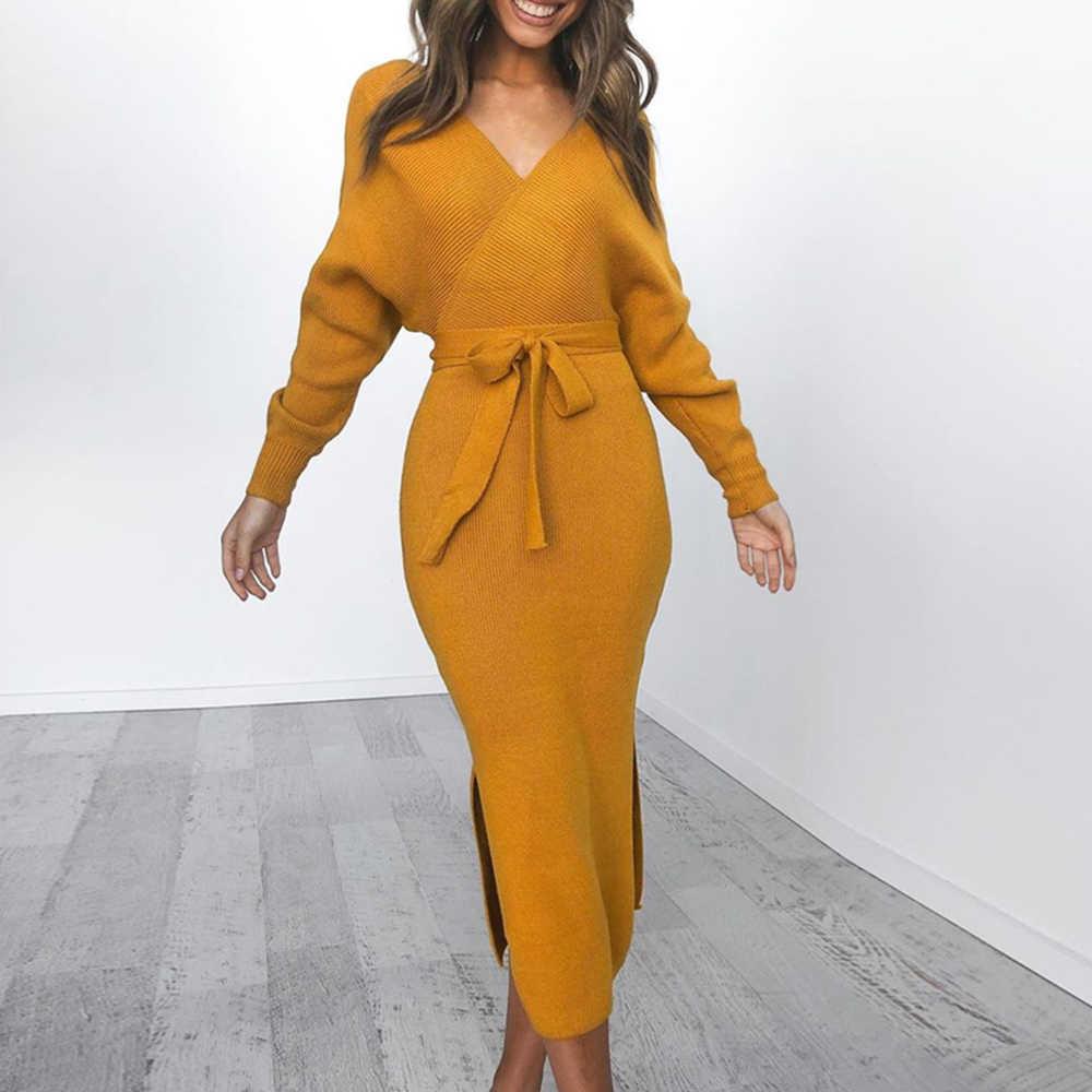 נשים סרוג סוודר שמלה לעטוף חגור מקרית סקסי Vestidos ארוך שרוול זוגי V צוואר פיצול מזדמן שמלות Homme אופנה שמלה