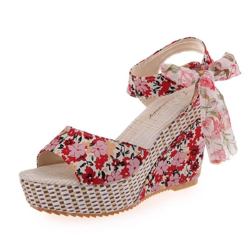 Wedge Sandals Platform Bow-Flowers Korean-Version Waterproof High-Heels New With Female