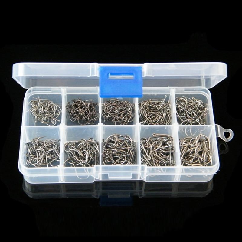 500PCS 10 Size Fishing Hooks Sharp Fishing Carbon Steel Hooks Mixed Size Barbed Hook Carp Fishing Portable Box