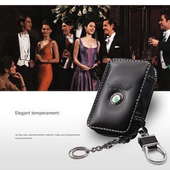 Genuine Leather Key Wallet Car Bag Multi Case Fashion Holders For Skoda Octavia A 5 7 2 Accessories Automobile