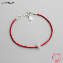 925 Sterling Silver Flower Bracelets Handmade Red Line Thread String Rope Charm Bracelets For Women Couple Fashion Jewelry