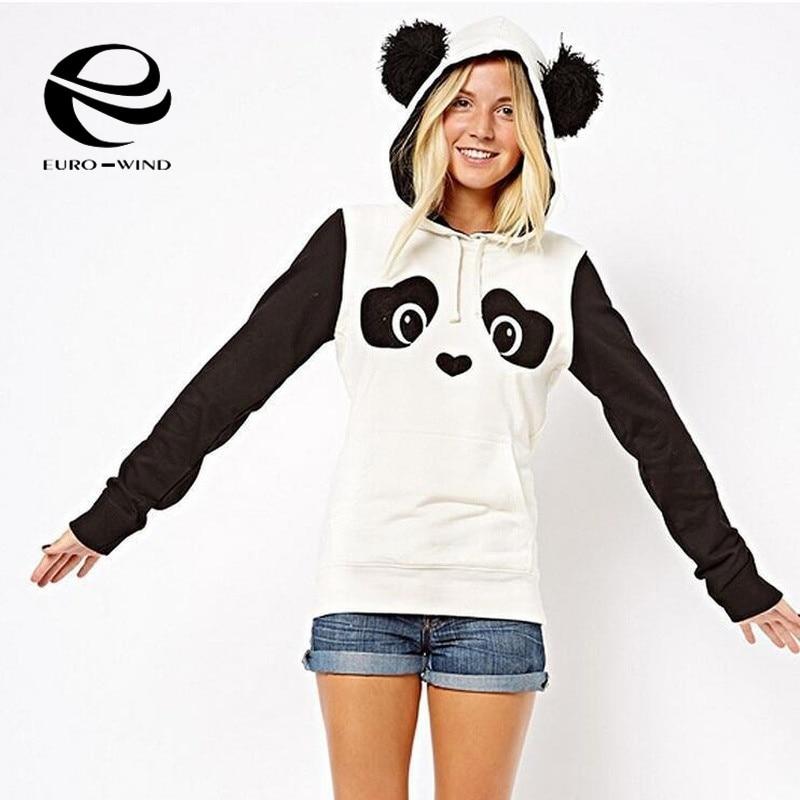 Plus Szie Women Autumn Hoodie Long Sleeve Sweatshirt Jumper Hooded Pullover Fashion Casual Panda Cute Coat Tops 2019 Clothing
