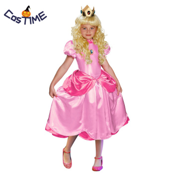 Little Princess Peach Costume Super Mario Brothers Princess Cosplay Classic Game Costume Kids Girl Halloween Fancy Dress princess peach super mario bros costume classic game mario costume kids girls carnival cosplay party dress