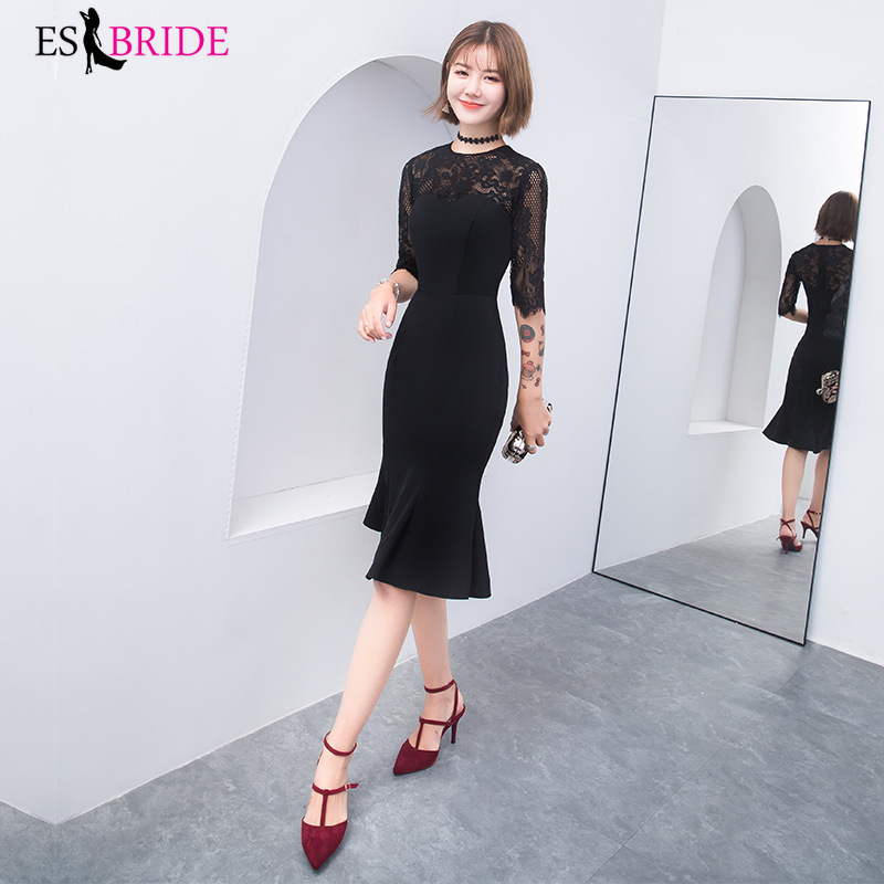 Elegant Lace Prom Dresses Long ES30192 Satin Mermaid Saudi Arabian Clothing 2019 Sexy Black Formal Evening Party Gowns